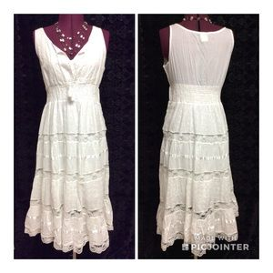 NWOT🦋Anjli🦋All Cotton Cool White & Lace Sundress